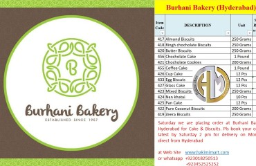HM Update # 16 Order Burhani Bakery Hyderabad Fresh Products till Sunday